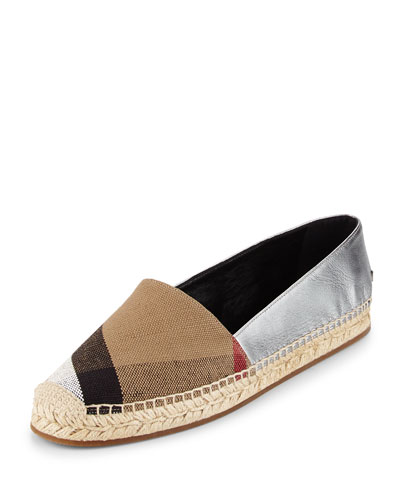 Hodgeson Check Canvas & Leather Espadrille Flat, Black Multi/Silver