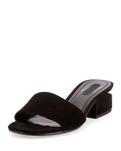 Lou Suede Block-Heel Mule, Black
