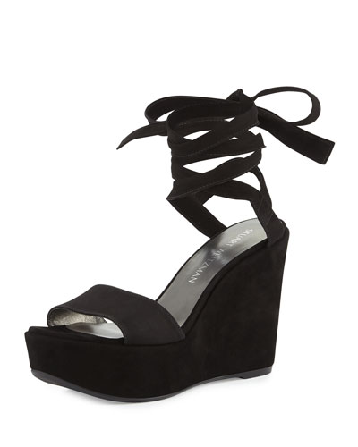 Backtie Suede Ankle-Wrap Wedge Sandal, Black