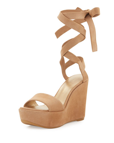 Backtie Suede Ankle-Wrap Wedge Sandal, Cashew