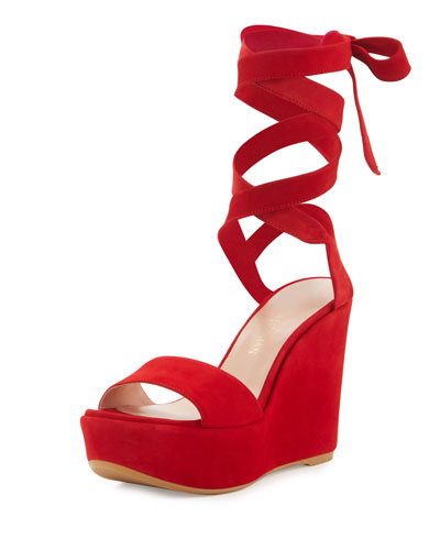 Backtie Suede Ankle-Wrap Wedge Sandal, Red