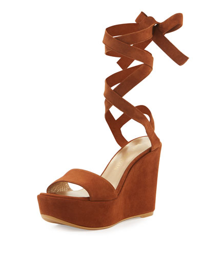 Backtie Suede Ankle-Wrap Wedge Sandal, Saddle