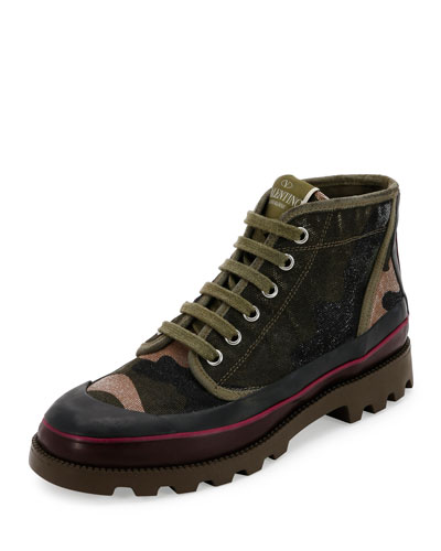 Camouflage Canvas High-Top Sneaker, Multicolor