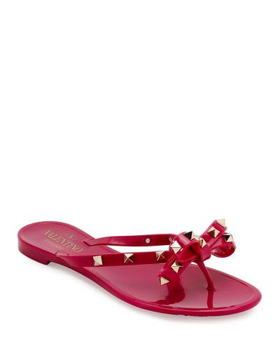 Rockstud PVC Flat Thong Sandal, Deep Cyclamen