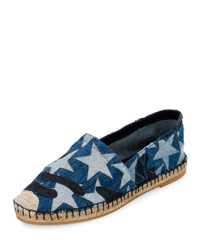 Star Denim Espadrille Flat, Light Denim