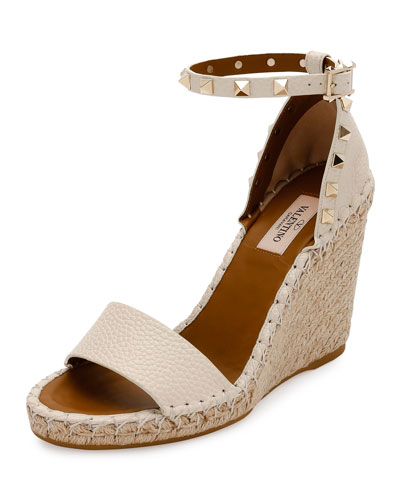 Rockstud Double Espadrille Wedge Sandal, Light Ivory