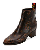 Santeria Embossed Leather Bootie, Light Brown