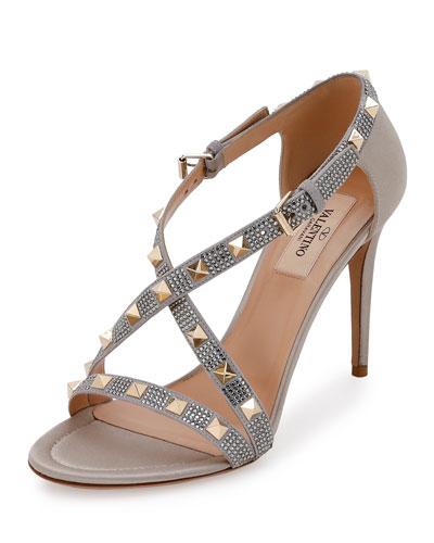 Rockstud Strass Crisscross 90mm Sandal, Pastel Gray