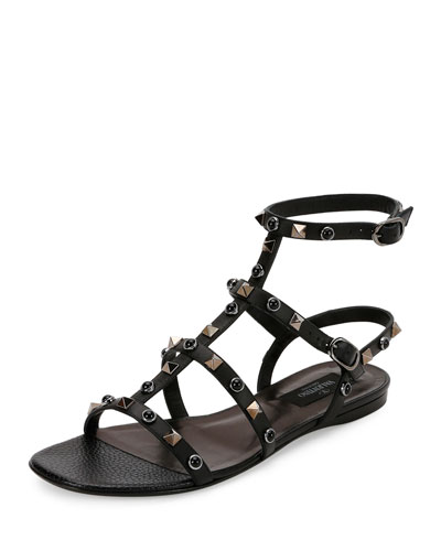 Rockstud Rolling Leather Flat Sandal, Nero