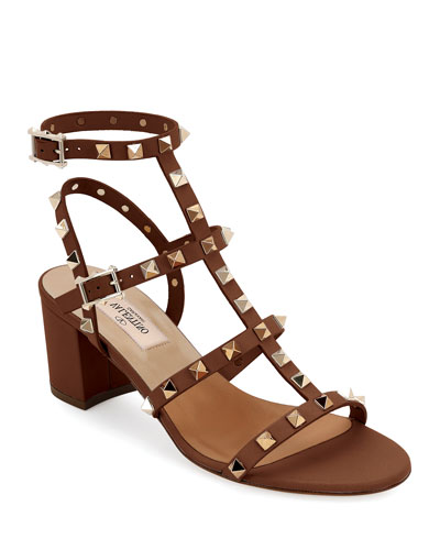 Rockstud Leather 60mm City Sandal, Light Brown