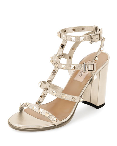 Rockstud Leather 90mm City Sandal, Light Ivory