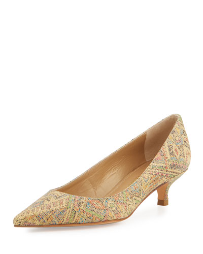 Poco Tweed Kitten-Heel Pump, Tan