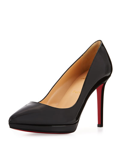Pigalle Plato Patent Red Sole Pump, Black