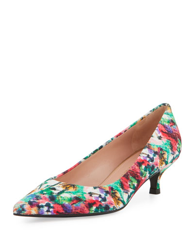 Poco Printed Kitten-Heel Pump, Bright