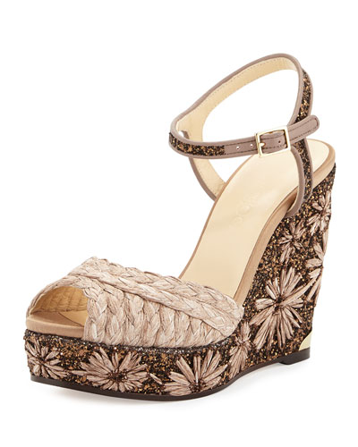 Perla Jute/Glitter Wedge Sandal, Light Mocha