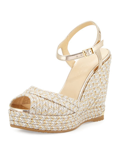 Perla Jute 120mm Wedge Sandal, Light Mocha