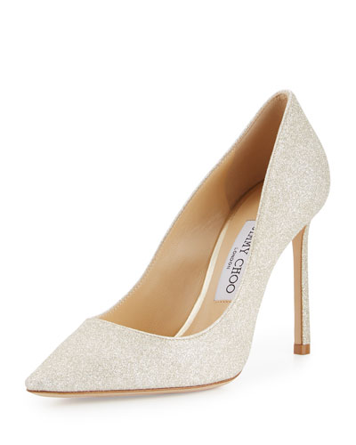 Romy Glitter Pointed-Toe 100mm Pump, Platinum Ice
