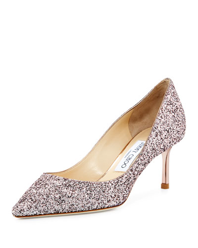 Romy Glitter Pointed-Toe 60mm Pump, Tea Rose