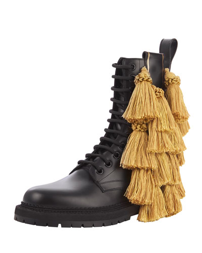 Aster Tassel Lace-Up Bootie, Black