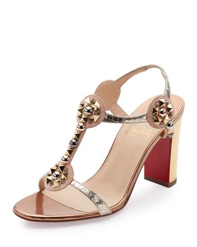 Kaleitop Spike T-Strap 85mm Red Sole Sandal