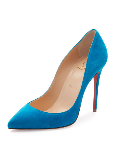 Pigalle Follies Suede 100mm Red Sole Pump, Egyptian Blue