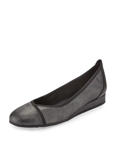 Abba Metallic Demi-Wedge Ballerina Flat, Black