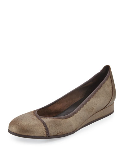 Abba Metallic Demi-Wedge Ballerina Flat, Bronze