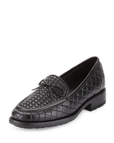 Macall Quilted Leather Loafer, Black
