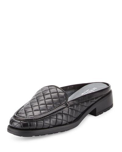 Mada Quilted Leather Mule, Black
