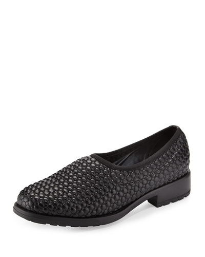 Marcy Quilted Leather Slip-On Flat, Black