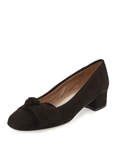 Fadia Knotted Low-Heel Pump, Black