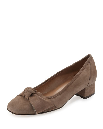 Fadia Knotted Low-Heel Pump, Taupe