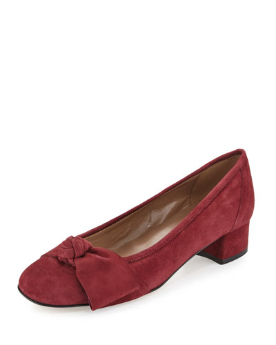 Fadia Knotted Low-Heel Pump, Burgundy