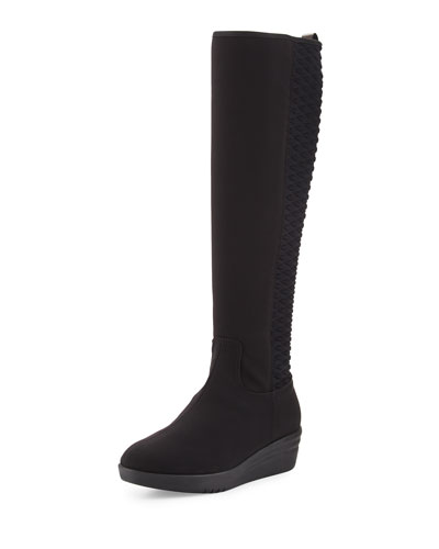 Nadie Weatherproof Wedge Knee Boot, Black