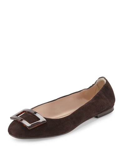 Rade Suede Buckle Ballerina Flat, Brown