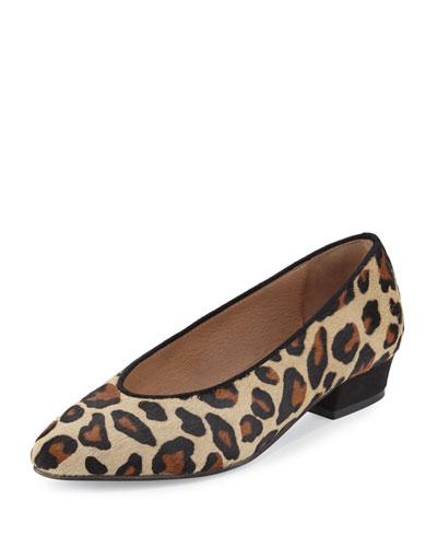 Zan Calf-Hair Comfort Flat, Leopard