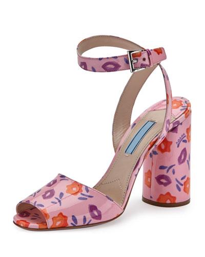 Floral Patent Ankle-Wrap 100mm Sandal, Petal/Wisteria (Petalo/Glicine)