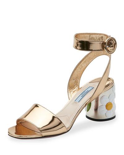 Floral-Heel Ankle-Wrap 65mm Sandal, Gold