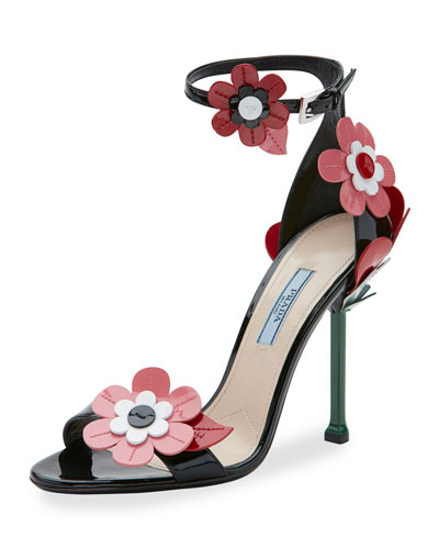 Floral Ankle-Wrap 85mm Sandal, Black (Nero)
