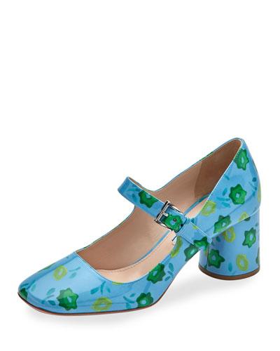Floral Mary Jane 65mm Pump, Blue/Emerald (Celeste/Smeraldo)