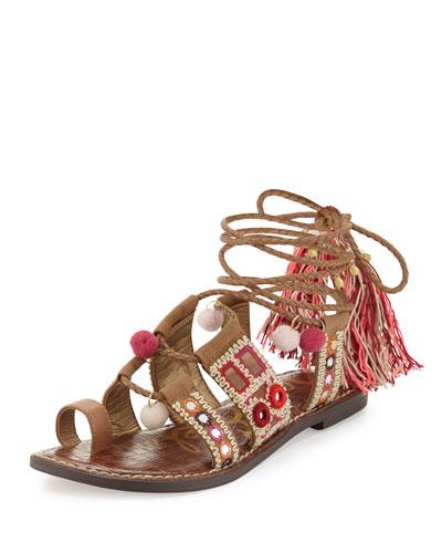 Gretchen Embroidered Lace-Up Flat Sandal, Camel/Pink