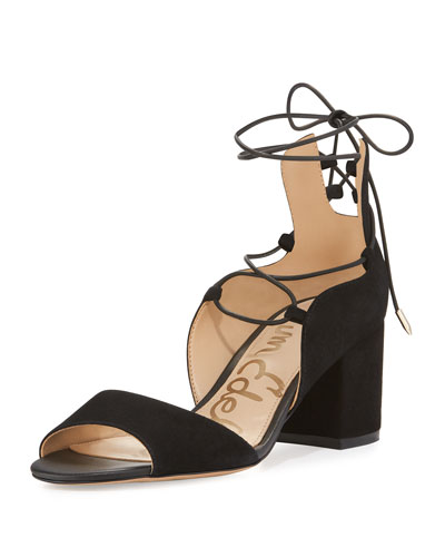 Serene Suede Lace-Up Sandal, Black