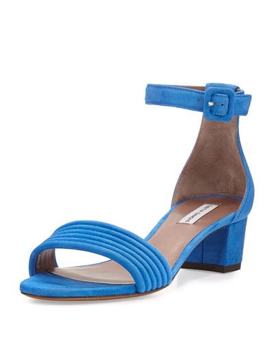 Virginia Suede Ankle-Wrap Sandal, Marine