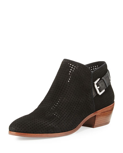 Paula Perforated Suede Bootie, Black