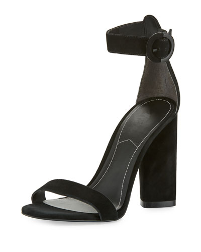Giselle Suede Chunky-Heel Sandal, Black