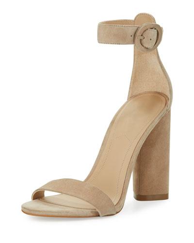 Giselle Suede Chunky-Heel Sandal, Beige