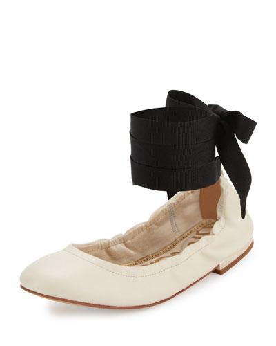 Fallon Lace-Up Ballerina Flat, Modern Ivory