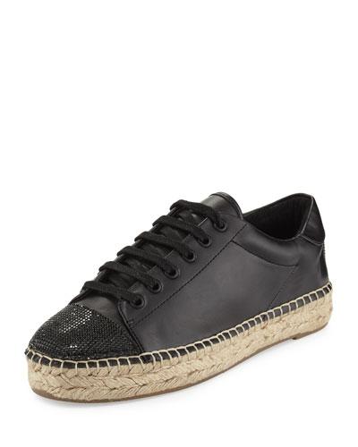 Joslyn Cap-Toe Espadrille Sneaker, Black
