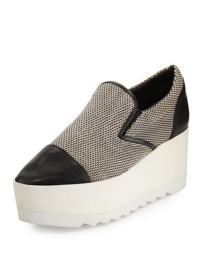 Tanya Woven Platform Skate Sneaker, Black/White