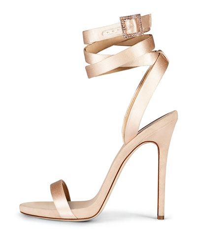 Leslie Satin Ankle-Wrap 120mm Sandal, Nude